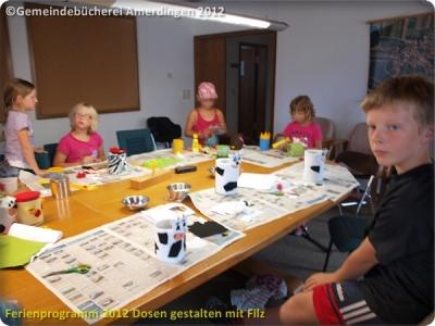 Ferienprogramm 2012 Dosen gestalten mit Filz_20