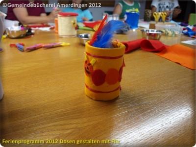 Ferienprogramm 2012 Dosen gestalten mit Filz_59