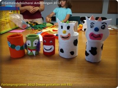 Ferienprogramm 2012 Dosen gestalten mit Filz_61